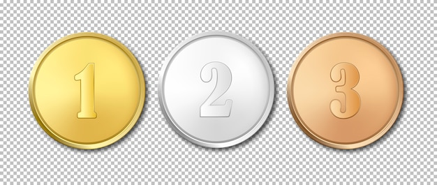 Realistic gold, silver and bronze award medals icon set isolated on transparent background.