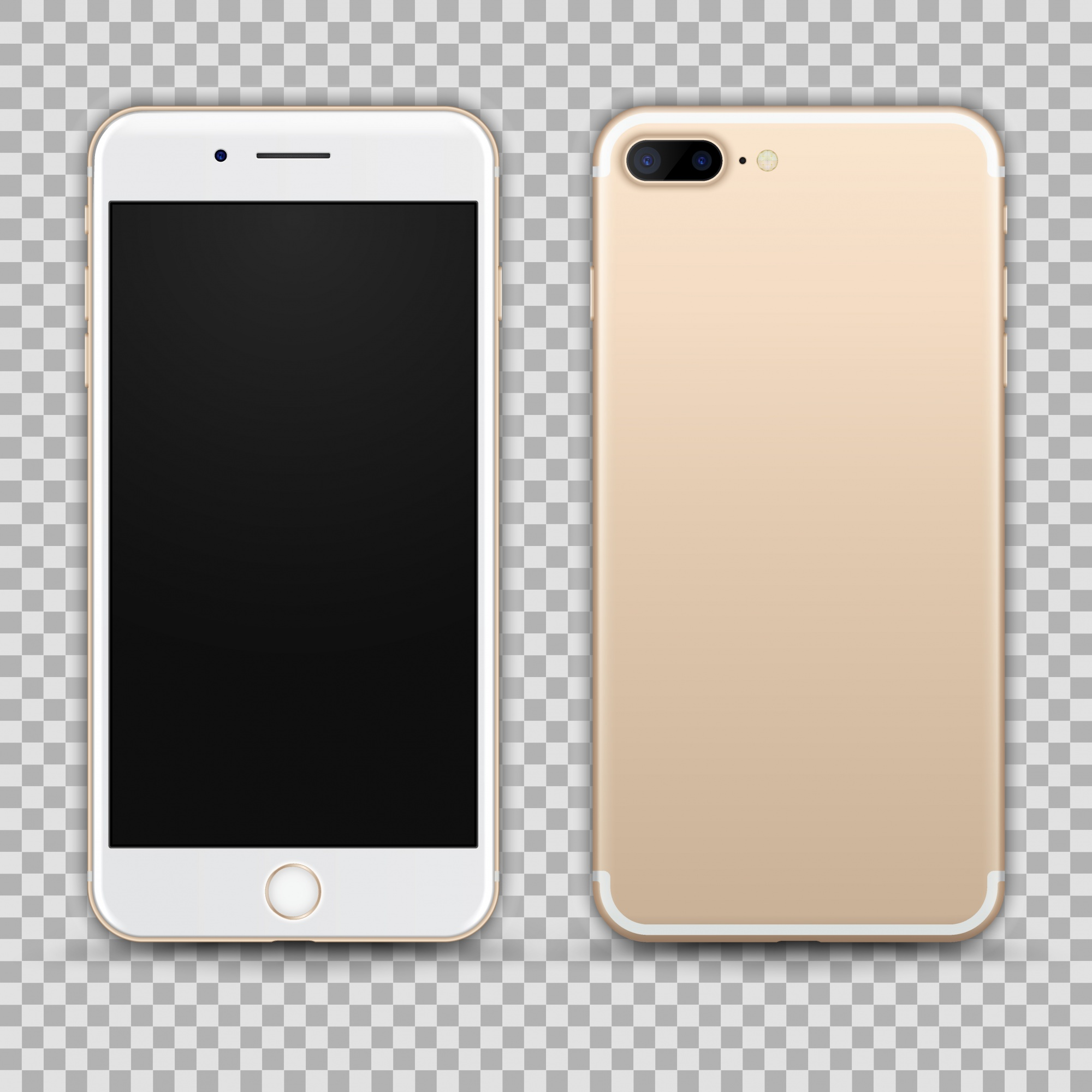 Realistic Gold Smartphone isolated on Transparent Background. Front and Back View