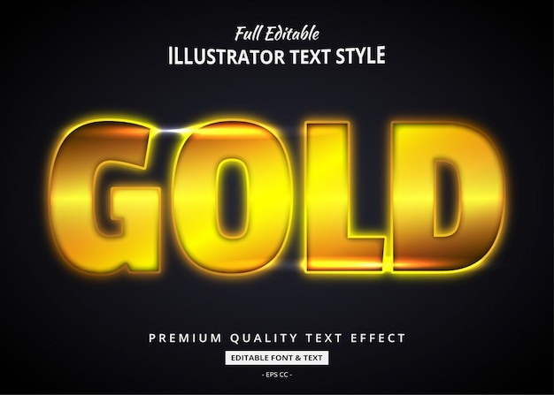 Realistic gold text style effect
