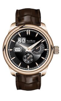 リアルなゴールドの時計時計クロノグラフブラウンレザーストラップブラックフェイスホワイトラグジュアリー