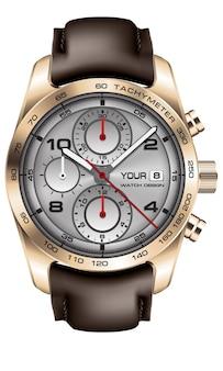 リアルなゴールドの時計時計クロノグラフグレーフェイスレッドホワイトアローブラックナンバーブラウンレザーストラップ