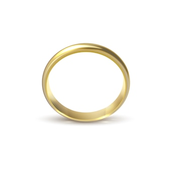 Realistic gold wedding ring isolated on white background symbol of love and marriage. realistic wedding design. vector illustration isolated on white background