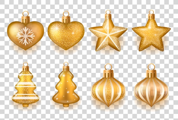 分離された上に設定されたさまざまな形のリアルな金色と白のクリスマスツリーの装飾