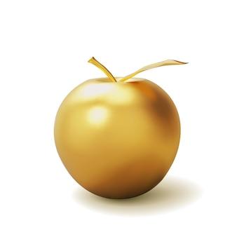 Реалистичное золотое яблоко на белом. Premium векторы