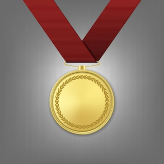 Realistic golden award medal with red ribbon.