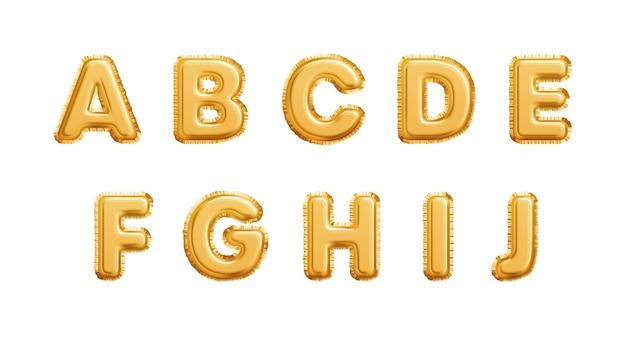 Реалистичные золотые шары алфавит, изолированные на белом фоне. abcdefghij буквы
