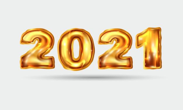 リアルな金色の風船新年