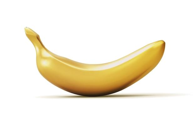 Реалистичный золотой банан на белом.