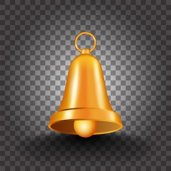 Realistic golden bell on black png background.