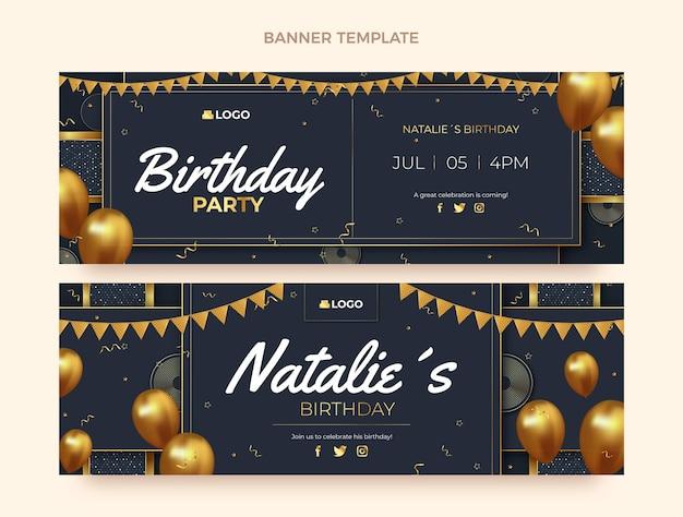 Реалистичные золотые горизонтальные баннеры на день рождения