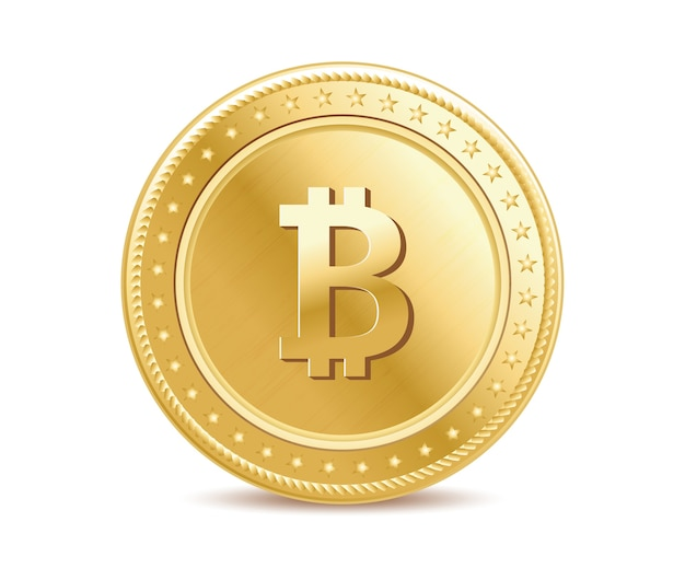 Realistic golden bitcoin
