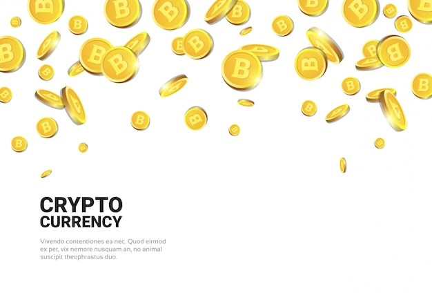 Realistic golden bitcoins falling over white background cryptocurrency concept