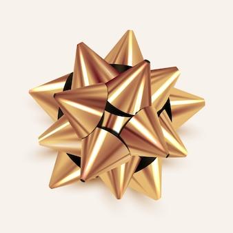 リアルな黄金の弓。ゴールドギフトの蝶結び