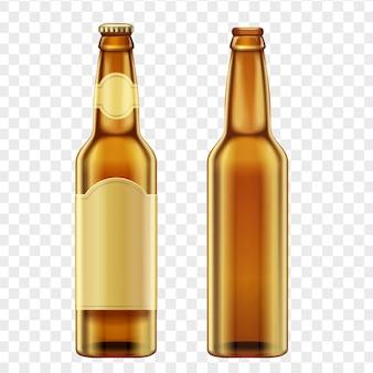Realistic golden brown bottles of beer