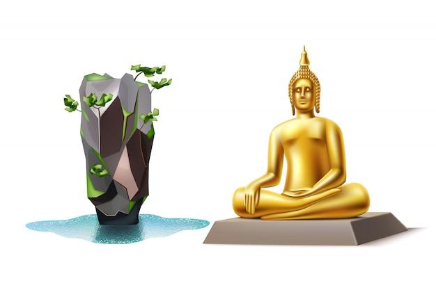 Realistic golden buddha and bond island thailand landmark