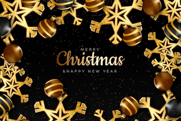 現実的な黄金のクリスマスの背景