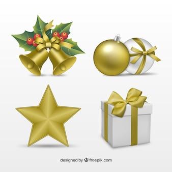 現実的な黄金のクリスマスデコレーション