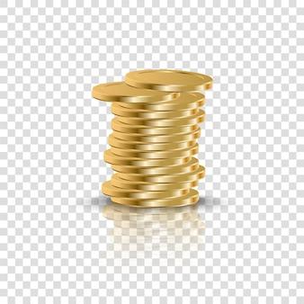 透明な背景にリアルな金貨が積み重なる