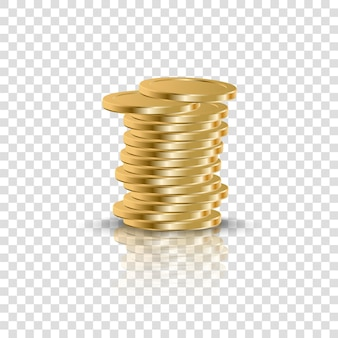 Realistic golden coins stack on transparent background