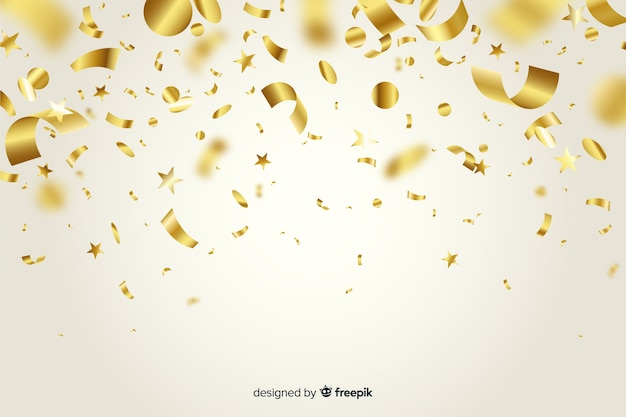 Realistic golden confetti background