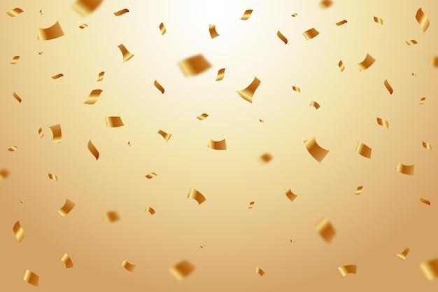 Realistic golden confetti background