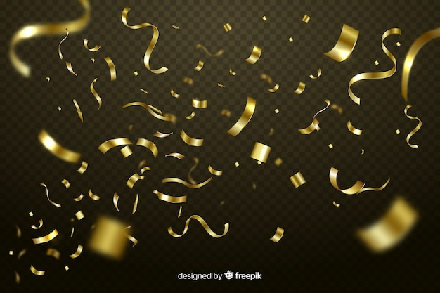 Realistic golden confetti background Free Vector