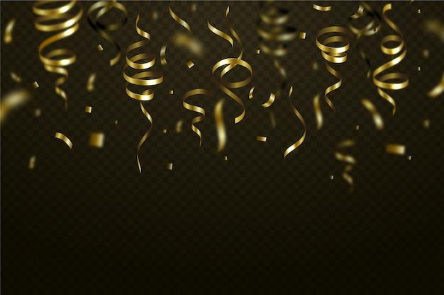 Реалистичный золотой конфетти падающий фон