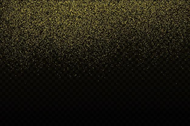 透明な背景にリアルな金色の紙吹雪。お誕生日おめでとう、パーティー、休日のコンセプトです。