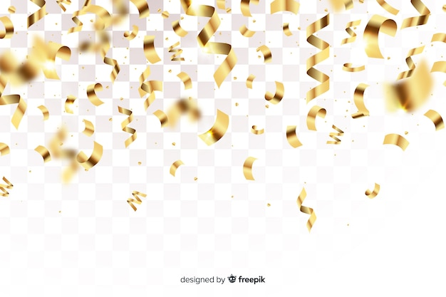 Realistic golden confetti on transparent background