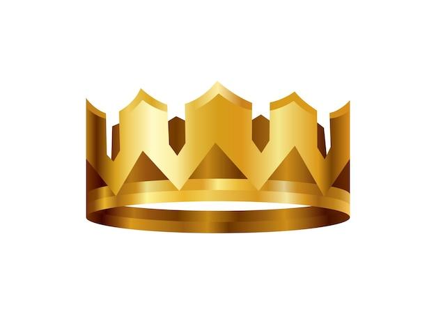 リアルな黄金の王冠。キングまたはクイーンの王冠の頭飾り。王室の貴族の君主制のシンボル。モナークの紋章の装飾。