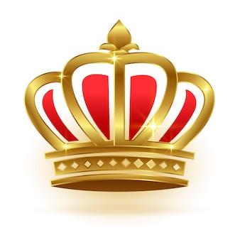 キングまたはクイーンのリアルなゴールデンクラウン