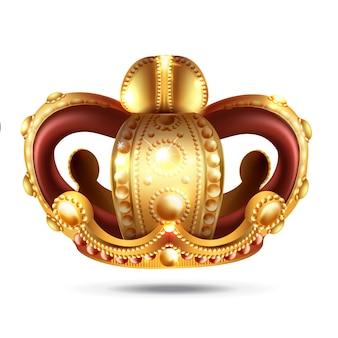 3 dで現実的な黄金の王冠。王と女王の頭飾り