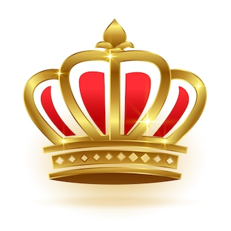 Corona d'oro realistica per re o regina