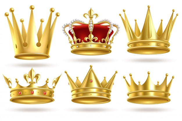 Realistic golden crowns. king, prince and queen gold crown and diadem royal heraldic decoration. monarch    signs