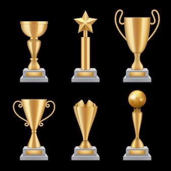 Realistic golden cups set