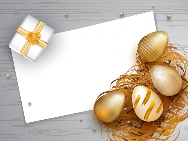 Realistic golden easter eggs with gift box illustration