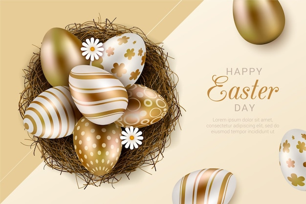 Realistic golden easter illustration
