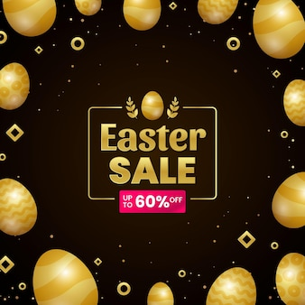 Realistic golden easter sale illustration