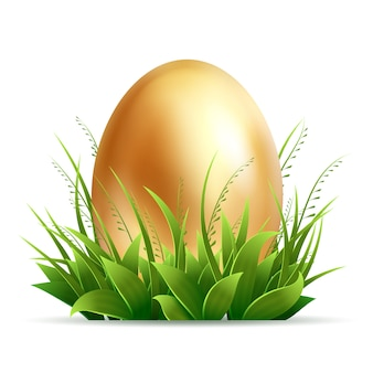 Realistic golden egg and green grass  on white background -  easter composition
