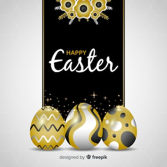 Realistic golden eggs easter day background
