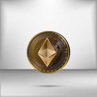 Realistic golden ethereum coin