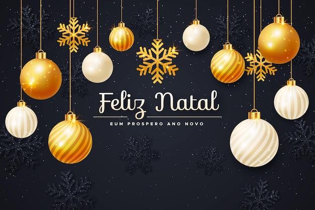 Realistic golden feliz natal