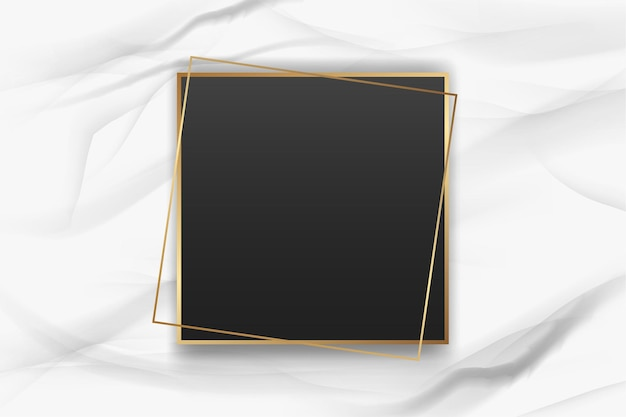 Realistic golden frame on marble background