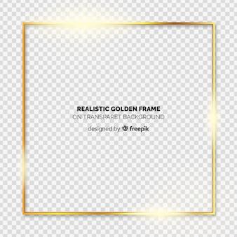 透明な背景にリアルなゴールデンフレーム
