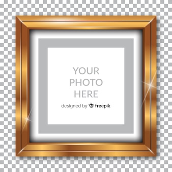 Realistic golden frame on transparent background