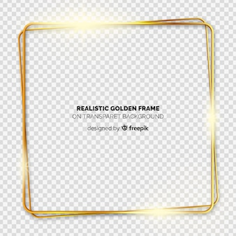 Realistic golden frame on transparent background