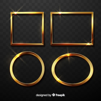 Realistic golden frames set