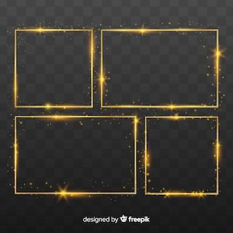 Realistic golden frames set