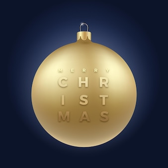 Realistic golden glitter christmas bauble on classy dark blue background with modern typography greetings. winter holiday decoration sticker, card or poster. new year 3d ball banner
