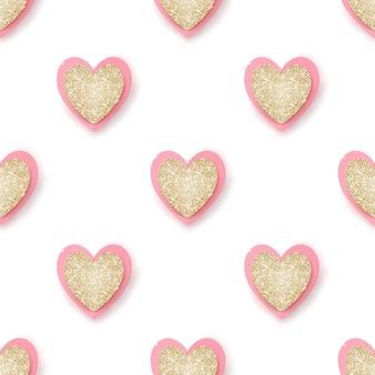 白、シームレスな背景に現実的な黄金のきらびやかなピンクの心。
